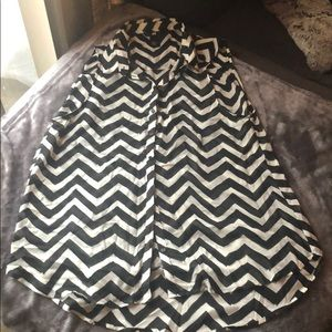 Black and white zig zag striped blouse